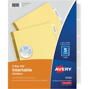 Avery(R) Big Tab(TM) Insertable Dividers 11110, 5-Tab Set