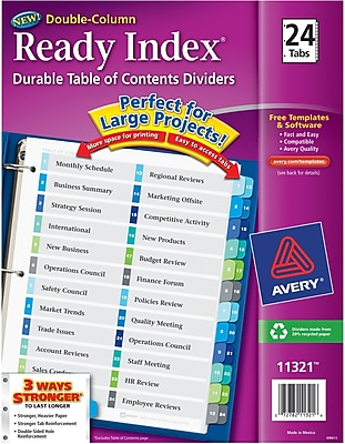 Avery® Ready Index® Double Column Indexes, 24-Tab