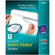 Avery Index Maker Clear Label Tab Dividers, 8-Tab, White, 25 Sets/Pack
