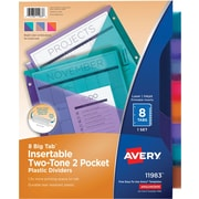 Avery Two Tone Double Pocket Insertable Tab Dividers, 8-Tab/Set (11983)