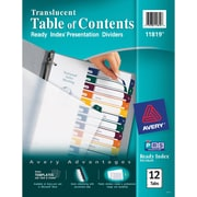 "Avery® Ready Index® Plastic Table of Contents Monthly Dividers, 1-12 Tab, Multicolor, 8 1/2"" x 11"", 1/St"