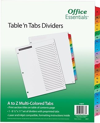 Avery® Office Essentials™ AVE11677 Index Divider, Multicolor, A-Z