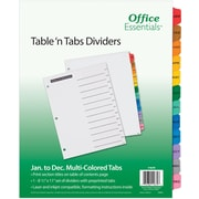 Avery® Office Essentials™ AVE11679 Index Divider, Multicolor, JAN-DEC