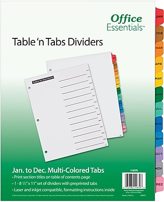 Office Essentials Table 'N Tabs Divider, Jan-Dec Multicolor Tabs, 1 Set (11679)