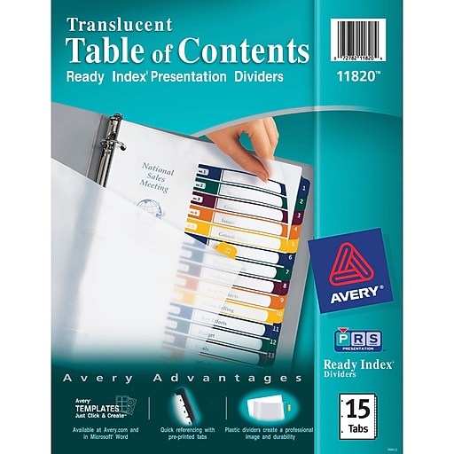 Avery Ready Index Plastic Table Of Contents Dividers 1 15 Tab
