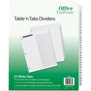 "Office Essentials(R) Table 'n Tabs Dividers, 8-1/2"" x 11"", 1-31 Tab, White Tab, Laser/Inkjet, 1 Set/ST"