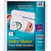 Avery(R) Index Maker(R) Extra-Wide Clear Label Dividers 11440, 5 Tabs, 5 Sets, White