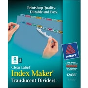 """Avery® Index Maker® Clear Label Plastic Dividers, 8 Tab, Multicolor, 8 1/2"""" x 11"""", 5 Sets/Pk"""