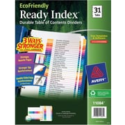 Avery® EcoFriendly Ready Index® Multicolor Table of Contents Dividers, Numeric-tabs