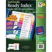 Avery® EcoFriendly Ready Index® Multicolor Table of Contents Dividers, 12-tab