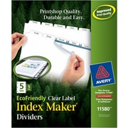 Avery(R) EcoFriendly  Index Maker(R) Clear Label Dividers 11580, White 5-Tab, 5 Sets