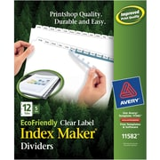Avery(R) EcoFriendly Index Maker(R) Clear Label Dividers 11582, White 12-Tab, 5 Sets