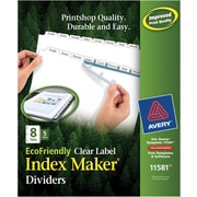 Avery(R) EcoFriendly Index Maker(R) Clear Label Dividers 11581, White 8-Tab, 5 Sets