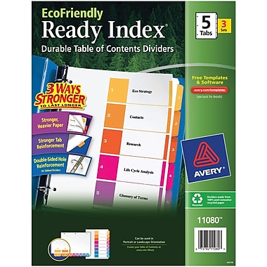 Avery(R) EcoFriendly Ready Index(R) Table of Contents Dividers 11080, 5-Tab, 3 Sets