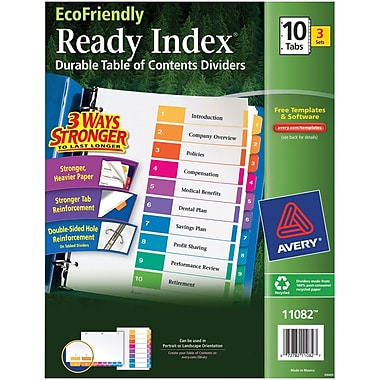 Avery(R) EcoFriendly Ready Index(R) Table of Contents Dividers 11082, 10-Tab, 3 Sets