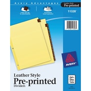 "Avery® Leather Preprinted Dividers, Jan-Dec Tab, Red Leather, 8 1/2"" x 11"", 1/St"