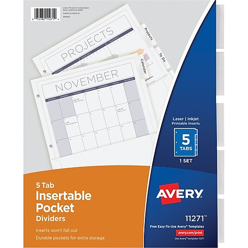 Averyr Worksaverr Pocket Dividers With Insertable Tabs 11271 5