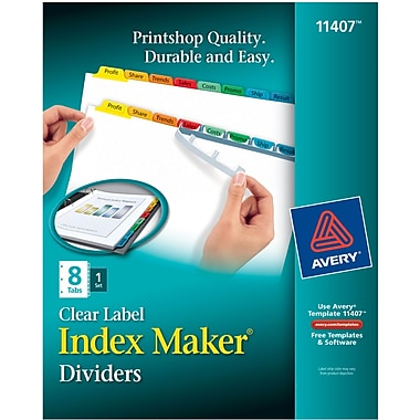 Avery® Index Maker Clear Label Tab Dividers, 8-Tab, Multicolor, 1 Set/Pack