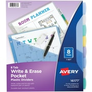 Avery® Durable Poly Write-On Tab Dividers with Pocket, 8-Tab, multicolor 1/Pack