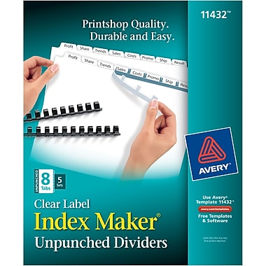 Avery® Index Maker Clear Label Tab Dividers, 8-Tab Unpunched, White, 5 Sets/Pack