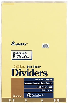 Avery® Post Binder Insertable Tab Dividers, 6 Tab, Clear, 11