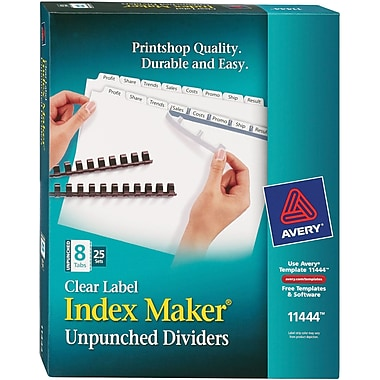 Avery® Index Maker® Clear Label Laser and Inkjet Dividers, 8 Tabs, 25 Sets/Box