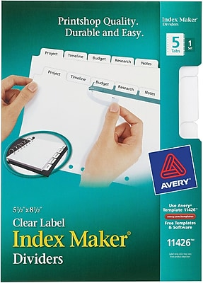 Avery® Memo-Size Index Maker® Tabs for Laser and Inkjet Printers, 5 Tab Set, 5-1/2