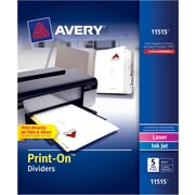 Avery® 11515 Print-On™ Dividers, White, 5 Tabs/Set