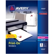 Avery® 11517 Print-On™ Dividers, White, 5 Tabs, 25 Sets