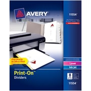 Avery® 11554 Print-On™ Dividers, White, 8 Tabs, 25 Sets