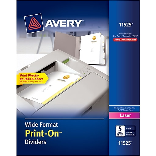 Avery 11525 Wide Format Print On Divider White 5 Tab 25box