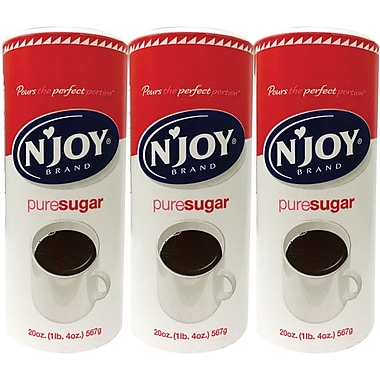 N'Joy Pure Sugar Value Pack, 20 oz. Canister, 3/Pack