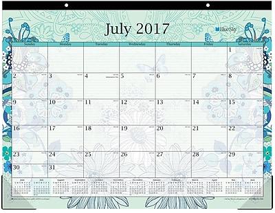 2017 2018 Blue Sky 22x17 Desk Pad Calendar Lianne Aqua 100101