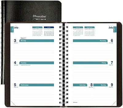 2017-2018 Brownline® Academic Weekly Planner, Black, 8