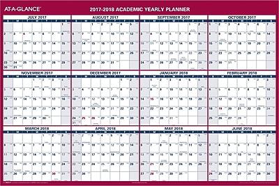 2017-2018 AT-A-GLANCE® Academic Vertical/Horizontal Reversible Erasable Wall Calendar, 12 Months, 32