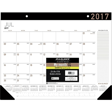 "2017-2018 AT-A-GLANCE® 22""x17"" Contemporary Academic Monthly Desk Pad,12 Months (AY24X-00-18)"