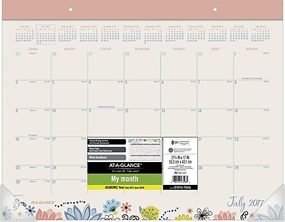2017-2018 AT-A-GLANCE® Academic Claire Monthly Desk Pad, 12 Months, 22