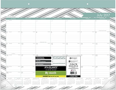 2017-2018 AT-A-GLANCE® Academic Sprinkle Monthly Desk Pad, 12 Months, 22