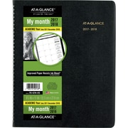 "2017-2018 AT-A-GLANCE® 8 7/8"" x 11"" Large Academic Monthly Planner, 18 Months, Black (70-074-05-18)"