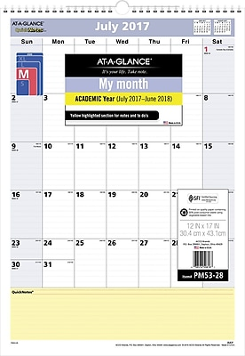 2017-2018 AT-A-GLANCE® QuickNotes® Academic Monthly Wall Calendar, 12 Months, 12
