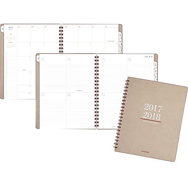 "2017-2018 AT-A-GLANCE® 8 3/4"" x 11"" Collection Academic Weekly/Monthly Planner, 13 Months, Tan/Red (YP104A-0718)"