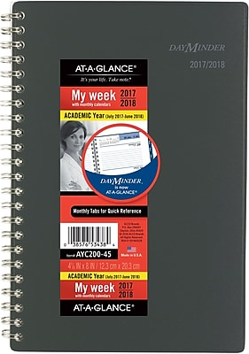 2017-2018 AT-A-GLANCE® Academic DayMinder® Weekly/Monthly Planner, 12 Months, Charcoal, 4-7/8