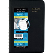 "2017-2018 AT-A-GLANCE® Academic Daily Appointment Book/Planner, 12 Months, Black, 4-7/8"" x 8"""