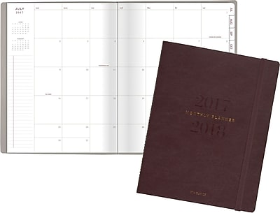 2017-2018 AT-A-GLANCE® Academic Collection Bookbound Monthly Planner, 13 Months, Brown, 8-1/2