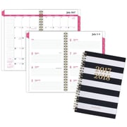 "2017-2018 AT-A-GLANCE® 4 7/8"" x 8"" Striped Academic Weekly/Monthly Planner, 12 Months, Black/White (1027S-200A-18)"