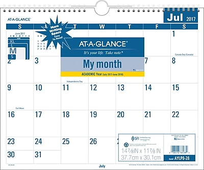 2017-2018 AT-A-GLANCE® Academic Easy to Read Monthly Wall Calendar, 12 Months, 15
