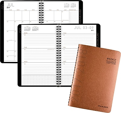 2017-2018 AT-A-GLANCE® Academic Contemporary Weekly/Monthly Planner, 12 Months, Copper, 4-7/8