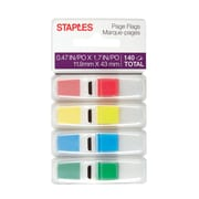 "Staples Stickies® 1/2"" Flags with Pop Up Dispenser, 140 Flags/Pack (14109)"