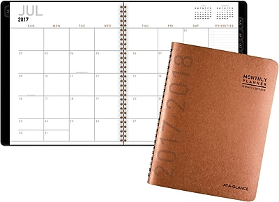 2017-2018 AT-A-GLANCE® Academic Contemporary Monthly Planner, 12 Months, Copper, 9