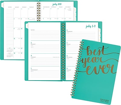 2017-2018 AT-A-GLANCE® Academic Aspire Weekly/Monthly Planner, 12 Months, Mint Blue, 4-7/8